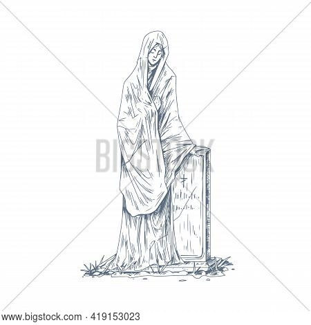 Cemetery Tombstone With Sculpture. Vintage Catholic Gravestone With Statue. Christian Headstone Of T