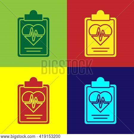 Pop Art Health Insurance Icon Isolated On Color Background. Patient Protection. Security, Safety, Pr