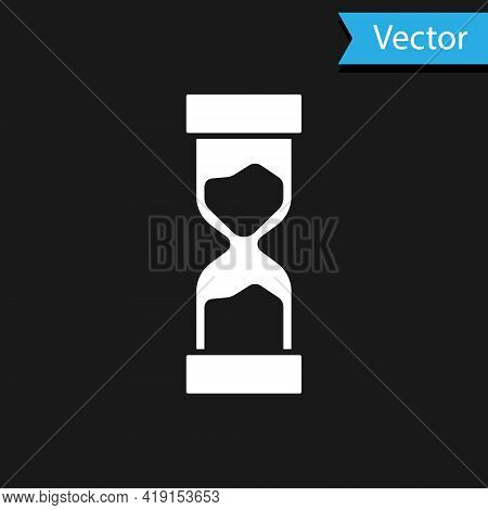 White Old Hourglass With Flowing Sand Icon Isolated On Black Background. Sand Clock Sign. Business A