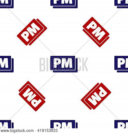 Blue And Red Clock Pm Icon Isolated Seamless Pattern On White Background. Time Symbol. Vector