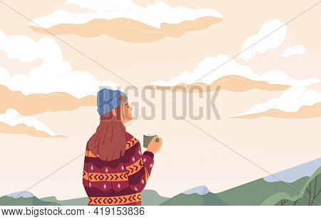 Young Woman Enjoying Peaceful Landscape, Relaxing, Looking At Sky With Clouds, Drinking Tea And Drea