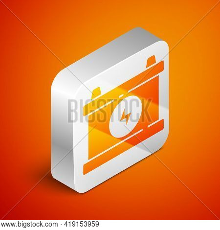 Isometric Car Battery Icon Isolated On Orange Background. Accumulator Battery Energy Power And Elect