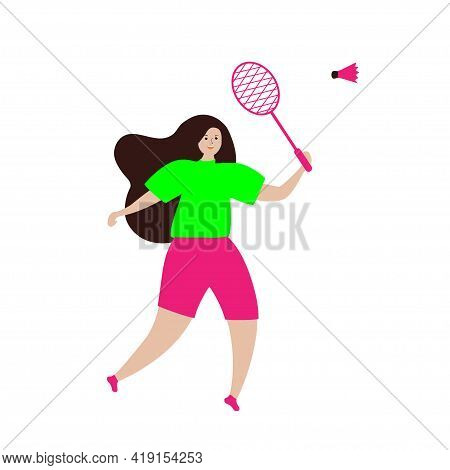 A Girl With A Bandmint Racket And A Shuttlecock. Rocket Sport Indoor And Outdoor. Tennis Court Or Be
