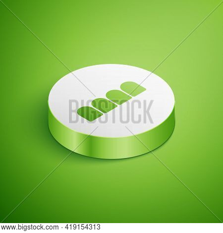 Isometric Dentures Model Icon Isolated On Green Background. Teeth Of The Upper Jaw. Dental Concept.