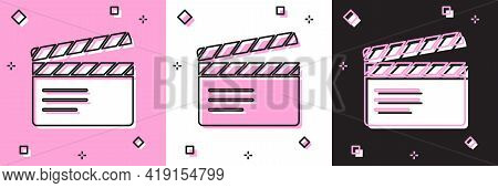 Set Movie Clapper Icon Isolated On Pink And White, Black Background. Film Clapper Board. Clapperboar