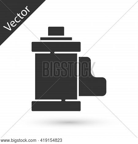Grey Camera Vintage Film Roll Cartridge Icon Isolated On White Background. 35mm Film Canister. Films