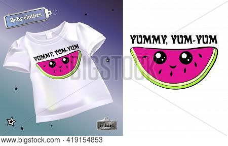 Vector Illustration Of A Children's T-shirt With A Pattern. Isolated Image Of Cartoon Watermelon Sli