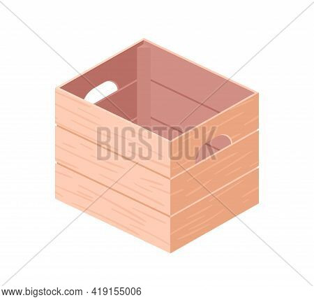 Empty Wood Box With Handles. Open Wooden Crate From Timber, Planks Or Plywood. Storage Container For