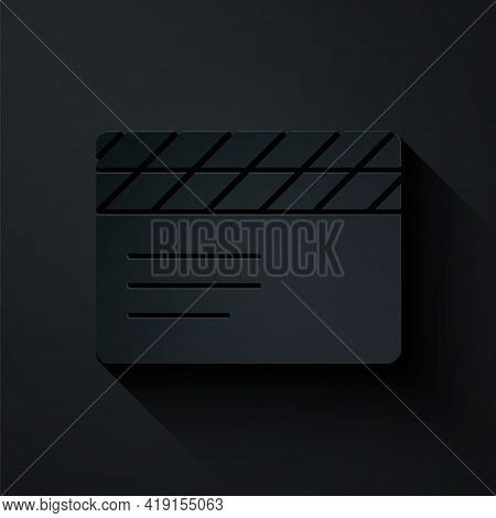 Paper Cut Movie Clapper Icon Isolated On Black Background. Film Clapper Board. Clapperboard Sign. Ci