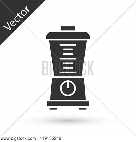 Grey Blender Icon Isolated On White Background. Kitchen Electric Stationary Blender With Bowl. Cooki