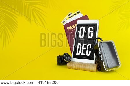 December 6th. Day 6 Of Month, Calendar Date. Mechanical Calendar Display On Your Smartphone. The Con