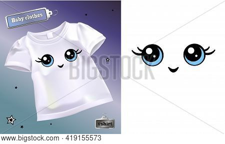 Vector Realistic Illustration Of A White Baby T-shirt With A Pattern. Cheerful Cartoon Character. Ey