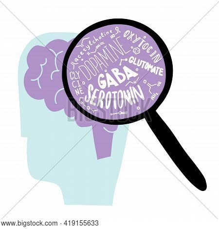 A Brain With A Loupe. Loupe With Serotonin And Other Neurohormone. Mental Health And Happy. Stress A