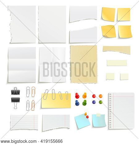 Clips Pins And Various Note Paper Stripe Ragged Stick Realistic Object Set Isolated Vector Illustrat