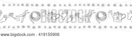 Edging, Ribbon, Border With Outline Flowers And Garden Equipments. Vector Seamless Pattern, Ornament