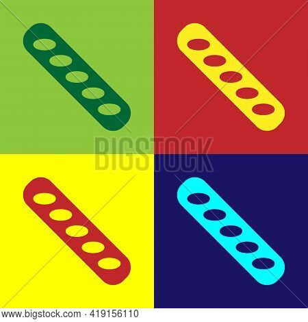 Pop Art French Baguette Bread Icon Isolated On Color Background. Vector