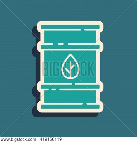 Green Bio Fuel Barrel Icon Isolated On Green Background. Eco Bio And Canister. Green Environment And
