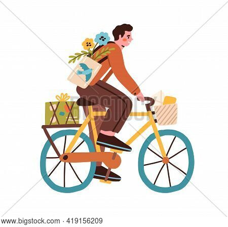 Young Man Riding Bicycle With Post Boxes, Parcels, Flowers And Envelopes In Basket. Happy Postman Cy