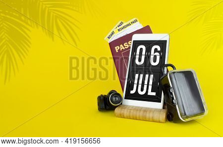 July 6th. Day 6 Of Month, Calendar Date. Mechanical Calendar Display On Your Smartphone. The Concept