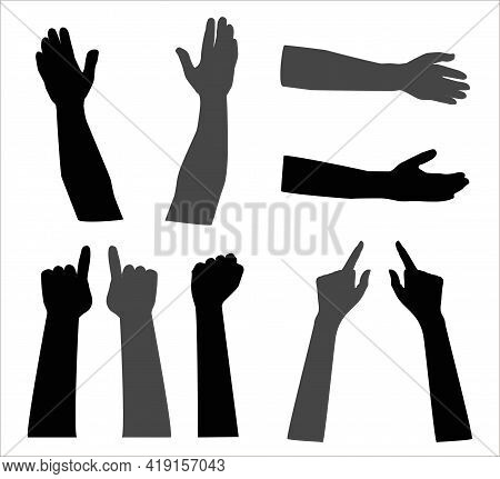 Vector Illustration Of Hand Silhouettes. Image Of Different Gestures.