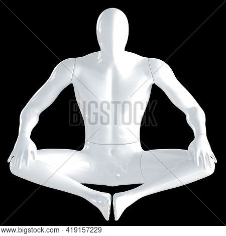 A White Male Mannequin Sits In A Butterfly Pose On A Black Background. Yoga Asana. Front View. 3d Re