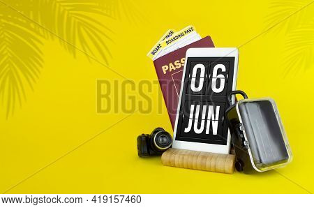 June 6th. Day 6 Of Month, Calendar Date. Mechanical Calendar Display On Your Smartphone. The Concept