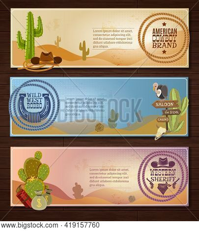 Cowboy Cartoon Horizontal Banners Set With Desert Rodeo And Sheriff Symbols On Wooden Background Iso