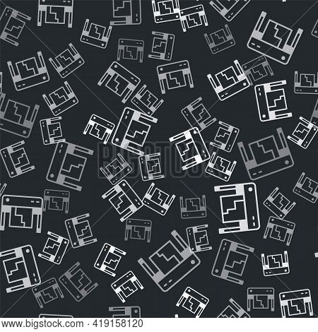 Grey Plotter Icon Isolated Seamless Pattern On Black Background. Large Format Multifunction Printer.