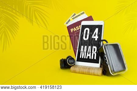 March 4th. Day 4 Of Month, Calendar Date. Mechanical Calendar Display On Your Smartphone. The Concep
