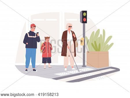 Blind Person In Glasses With Cane Stick Crossing Street At Crosswalk. Modern City Infrastructure For