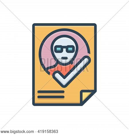 Color Illustration Icon For Attendance Presence Impendence Identification Verification