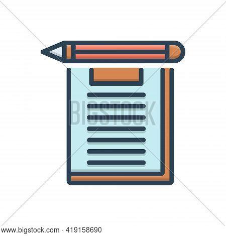 Color Illustration Icon For Exam Examination Test Inquiry Analysis