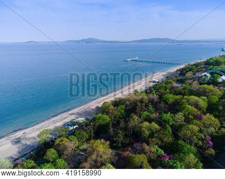 Beautiful Aerial Seascape Of Burgas Bay, Bulgaria. View Of Burgas Sea Garden.