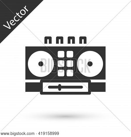 Grey Dj Remote For Playing And Mixing Music Icon Isolated On White Background. Dj Mixer Complete Wit