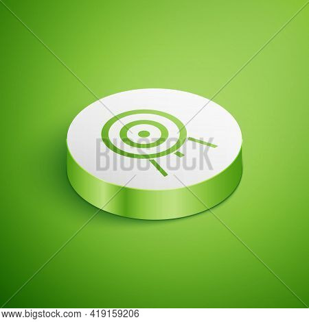Isometric Target Icon Isolated On Green Background. Dart Board Sign. Archery Board Icon. Dartboard S