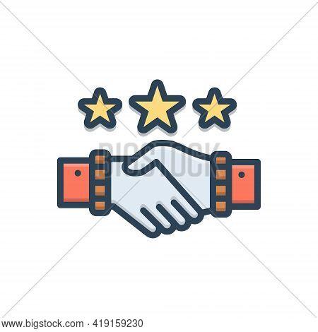Color Illustration Icon For Partnership Copartnership  Teamwork Handshake Complicity
