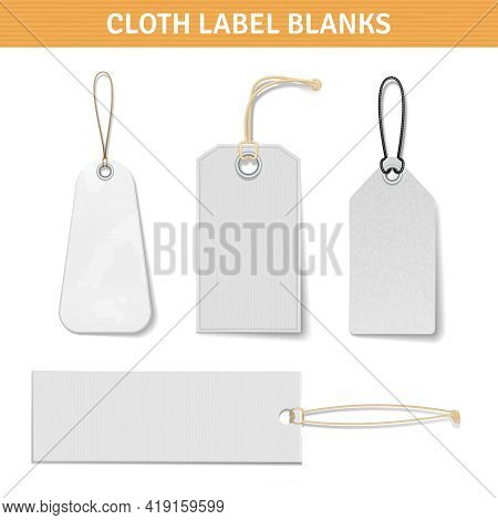 Clothes Label Blank White Realistic Tags Set With Title Isolated Vector Illustration