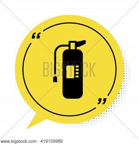 Black Fire Extinguisher Icon Isolated On White Background. Yellow Speech Bubble Symbol. Vector