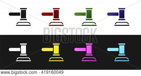 Set Judge Gavel Icon Isolated On Black And White Background. Gavel For Adjudication Of Sentences And