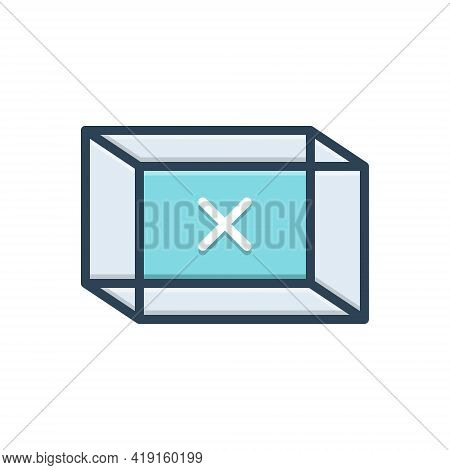 Color Illustration Icon For Empty Box Blank Vacant Container