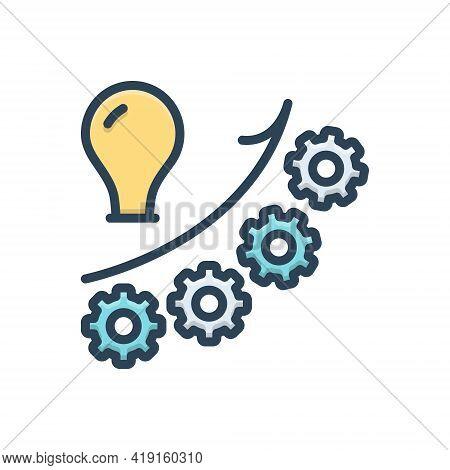 Color Illustration Icon For Growth Development Evolution Increase Enhancement Augmentation Gain