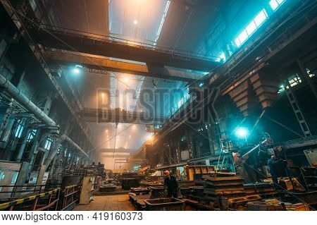Interior Of Metallurgical Plant Workshop For Iron Casting And Processing Of Metal Products, Foundry