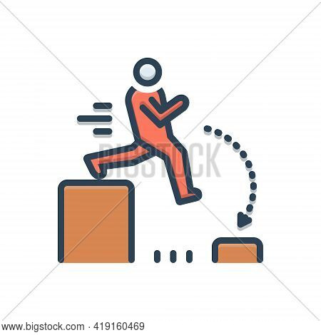 Color Illustration Icon For Challenging Outdare Challenge Jump Person