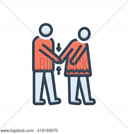 Color Illustration Icon For Coercion Rape Coercion Forcing Violation Ragging