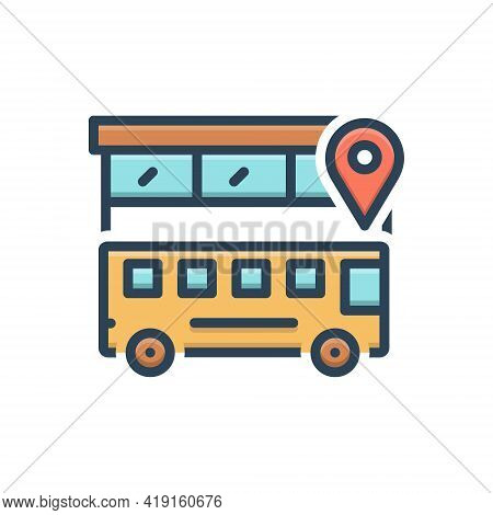 Color Illustration Icon For Bus-location Bus Location  Traveler Transportation