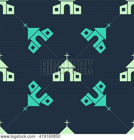 Green And Beige Church Building Icon Isolated Seamless Pattern On Blue Background. Christian Church.