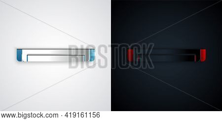 Paper Cut Long Luminescence Fluorescent Energy Saving Lamp Icon Isolated On Grey And Black Backgroun