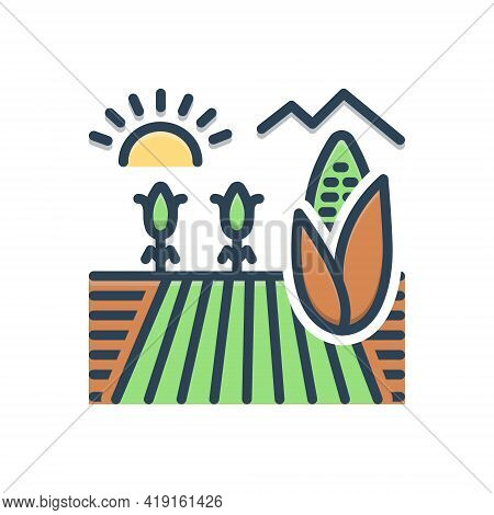 Color Illustration Icon For Cornfield Crop Agriculture Farming Husbandry