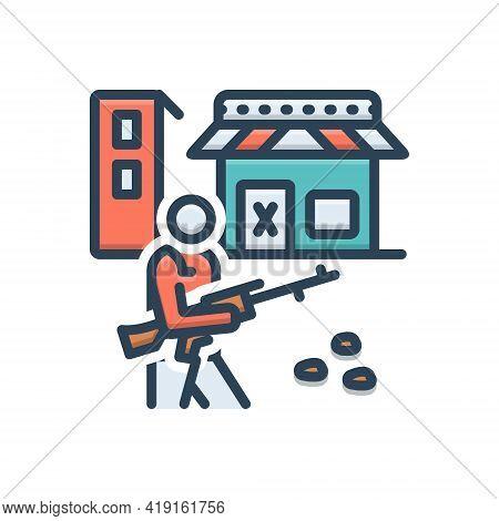Color Illustration Icon For Curfew Soldier Gun Army Defense Rifle Terrorism