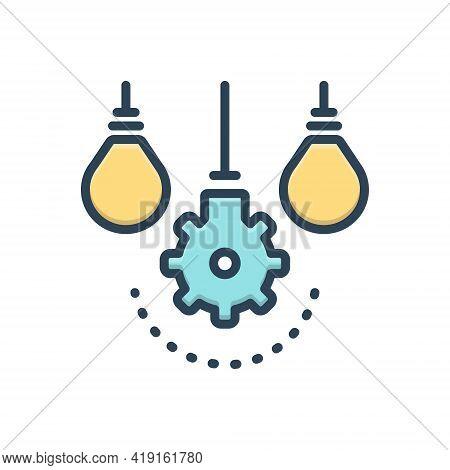 Color Illustration Icon For Differ Distinguish Separate Distinct Detached Aloof Segregate